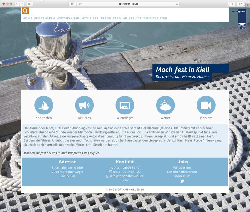 Screenshot der neue Website von der Sporthafen Kiel GmbH