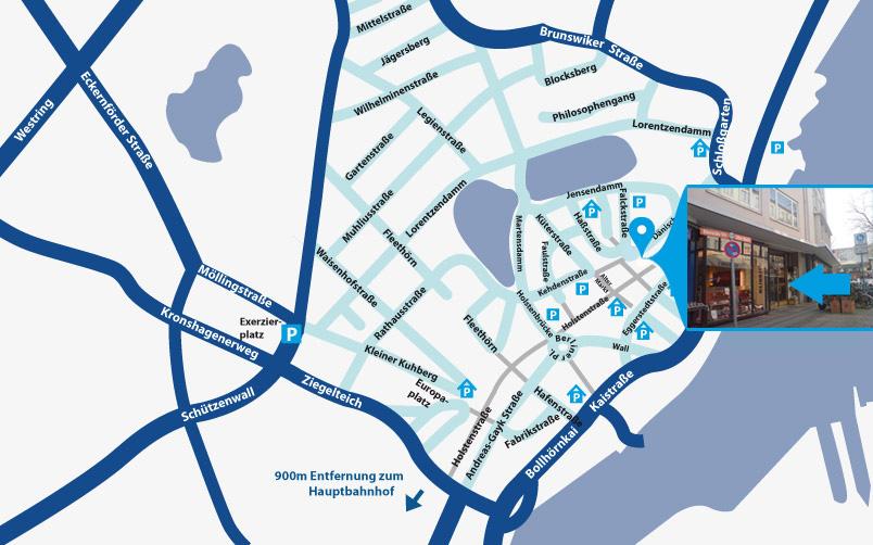 Stadtplan mit Markierung des Firmensitzes